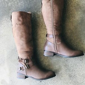NEW Italina Taupe Brown Knee-High Heel Riding Boot